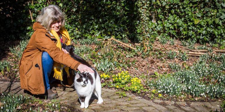 Jannie Bos tussen de sneeuwklokjes in haar Wubsbos in Winschoten. Foto: Huisman Media
