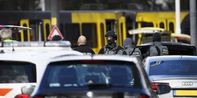 Door een schietpartij in een tram op het 24 Oktoberplein in Utrecht zijn meerdere mensen gewond geraakt. Foto ANP