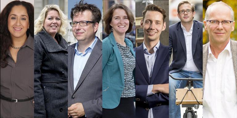 De nieuwe wethouders in Groningen: Glimina Chakor (GL), Inge Jongman (CU), Roeland van der Schaaf (PvdA), Carine Bloemhoff (PvdA), Mattias Gijsbertsen (GL), Paul de Rook (D66), Philip Broeksma (GL).