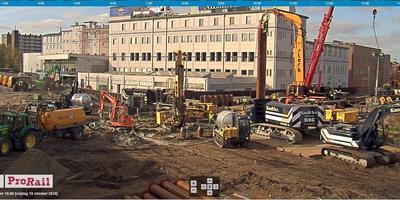 Een beeld van de werkzaamheden bij de Paterswoldseweg in Groningen, vanaf een van de webcams op www.prorail.nl/webcams-paterswoldseweg.