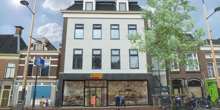 Op de foto is te zien hoe de winkel aan de Aweg er straks uitziet. De impressie is gemaakt door Urban Climate Architects te Delft en Groningen.