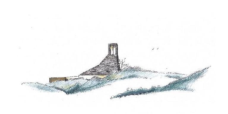 De aankomst van de monniken op Schiermonnikoog, twee jaar geleden (foto boven). Hun plan voor de bouw van een klooster op het eiland (tekening onder) maakte daarna een storm van kritiek van los onder omwonenden. Nu is een nieuw en veel kleinschaliger plan in de maak. ILLUSTRATIES archief LC