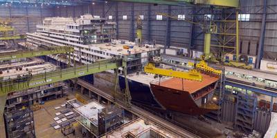 Een cruiseschip in aanbouw op de werf in Papenburg. Foto: Archief