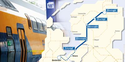 De beoogde route van de Lelylijn.