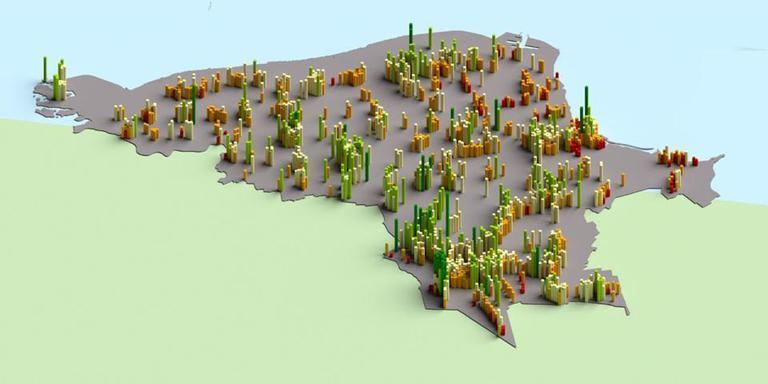 De woningmarkt in het Noord-Groninger krimpgebied zoals de onderzoekers van KAW Architecten het verbeelden op de cover van hun rapport.
