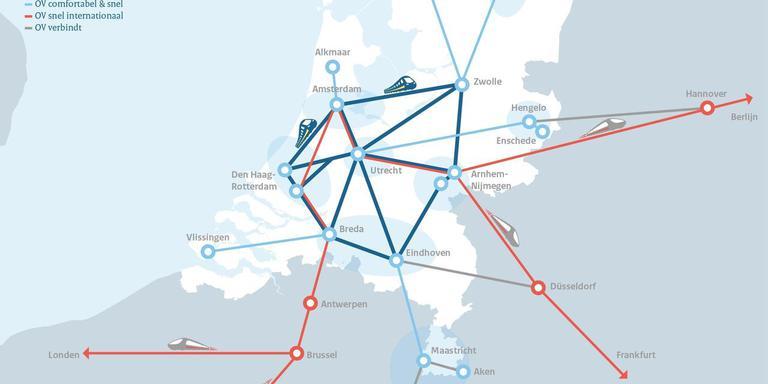 De spoorkaart Nederland met een snelle trein naar Duitsland via Arnhem en een binnenlands metrostelsel van treinen met negen knooppunten, waaronder Zwolle.