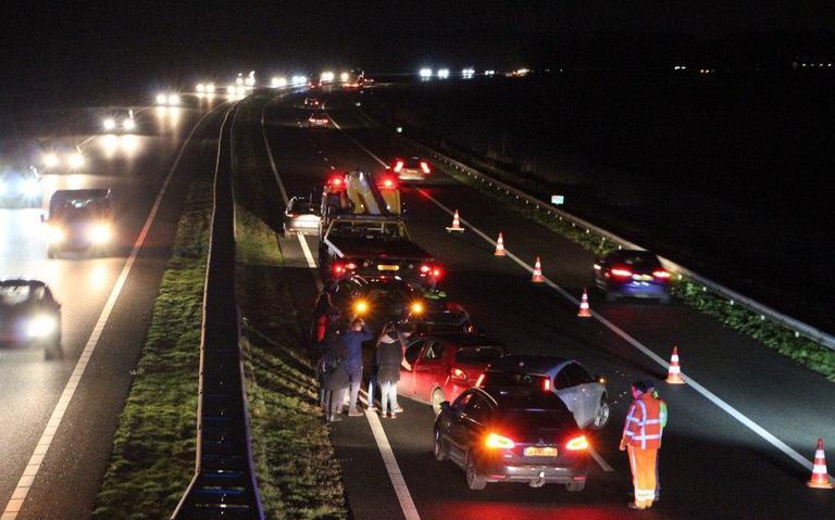 File A7 vanuit Drachten richting Groningen door ongeval meerdere voertuigen.
