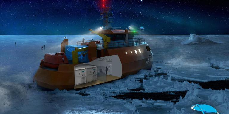 Het expeditieschip MARVEL bestaat vooralsnog alleen op de tekentafel. Bron: Ice Whale Foundation