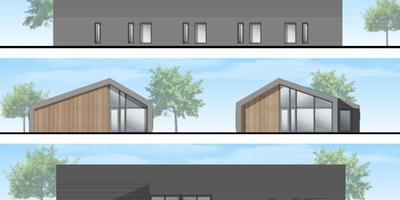 Een artist impression van de huisartsenpraktijk die in de toekomst op het terrein wordt gebouwd.