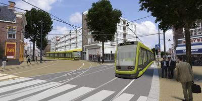 Plaatje van de tramplannen voor de Groninger binnenstad in 2012. Illustratie: RegioTram Groningen