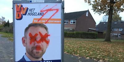 Lijsttrekker Stefan van Keijzerswaard op een beklad bord in Uithuizen. Foto DvhN
