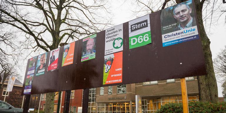Een verkiezingsbord in Sellingen in november vorig jaar. Foto: Huisman Media