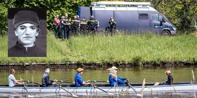 Compositietekening van de verdachte van het dodelijke steekincident in Groningen. Op de foto is de politie bezig met het onderzoek. Foto: ProNews, illustratie: Politie Groningen