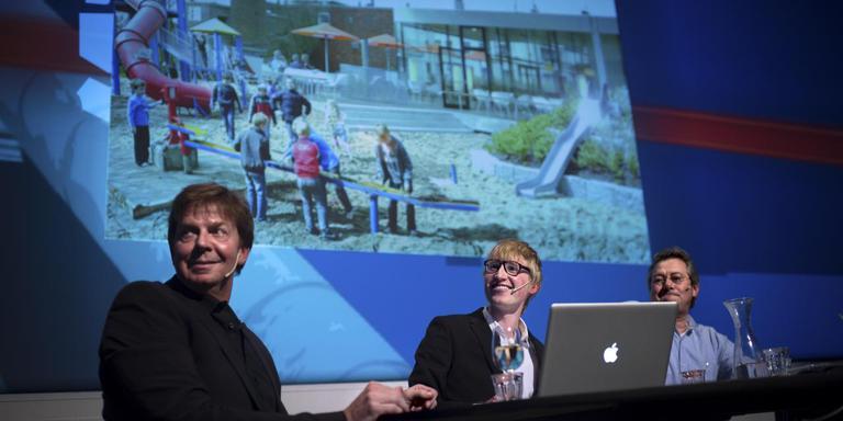De eerste aflevering van de maandelijkse talkshow Stand van de Stad in 2013. Foto: Archief Kees van de Veen