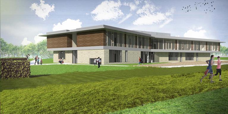 Artistieke impressie van de Nieuwe School Uithuizen die inmiddels vrijwel klaar is. De toekomstige gebruikers moeten echter nog langer wachten tot ze ernaartoe kunnen verhuizen.