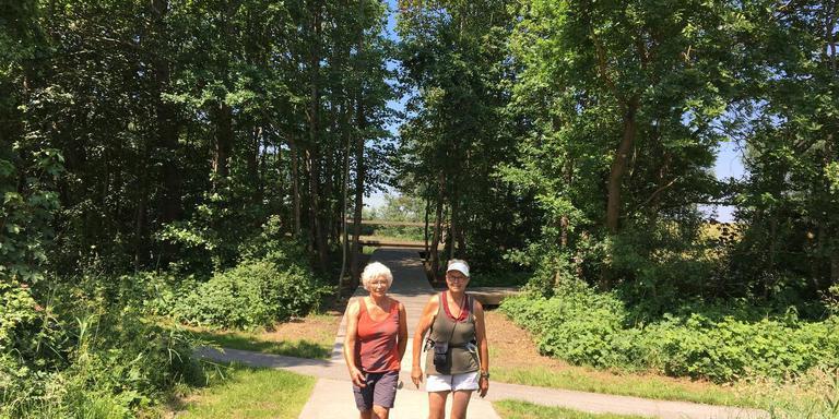 Jeanne Klijn en Janny Quak wandelen door de bossen bij Lauwersoog.