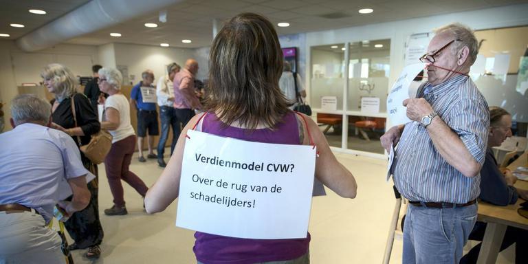 Actievoerders bezetten vorige maand het CVW-kantoor. fOTO: CORNE SPARIDAENS