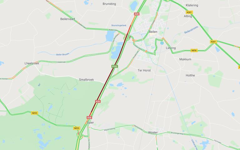 Ernstige vertraging op A28 richting Hoogeveen door ongeluk.