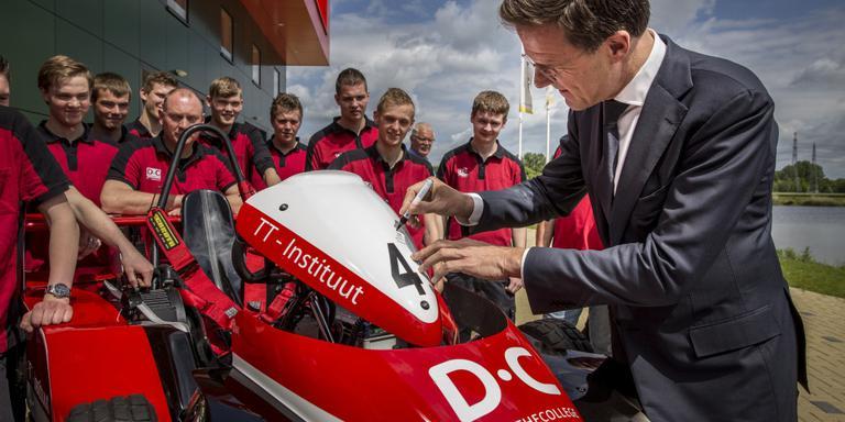 Mark Rutte op bezoek bij het Drenthe College. FOTO PEPIJN VAN DEN BROEKE
