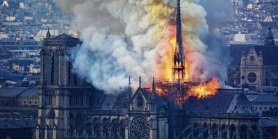 De Notre-Dame in Parijs werd maandag door brand deels verwoest. De Martinikerk en de Sint Jozefkerkathedraal in Groningen zamelen met een benefiet geld in voor de herbouw van de Parijse kathedraal. Foto: Hubert Hitier/AFP