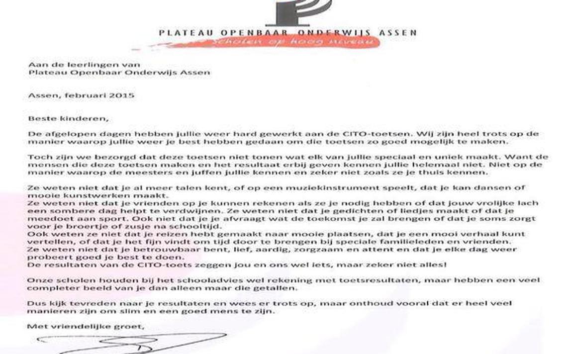 Brief aan leerlingen overgeschreven   Archief   DVHN.nl