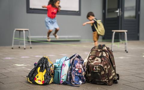 Kinderen spelen op het schoolplein.