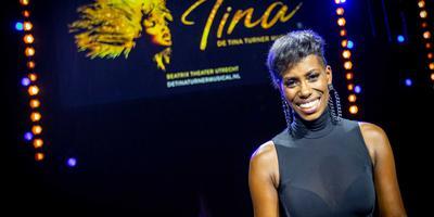 Nyassa Alberta bij de bekendmaking van haar naam als hoofdrolspeelster in de musical over Tina Turner.
