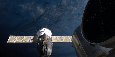 Zes jaar geleden werd de Sojoez gekoppeld aan het ruimtestation ISS. Foto: Archief DvhN