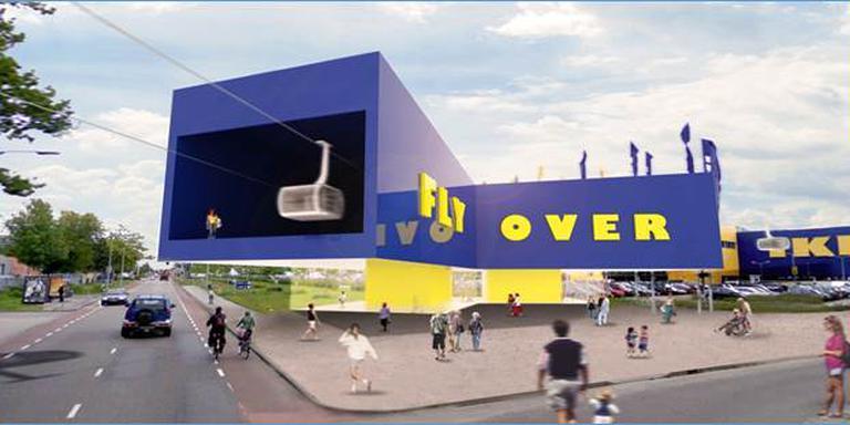 Vooral op de lijn tussen Ikea (Sontweg) en binnenstad zou een kabelbaan in beide richtingen veel reizigers trekken. Afbeelding Arcadis/MVRDV
