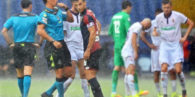 Stortregen verstoort Italiaans voetbal