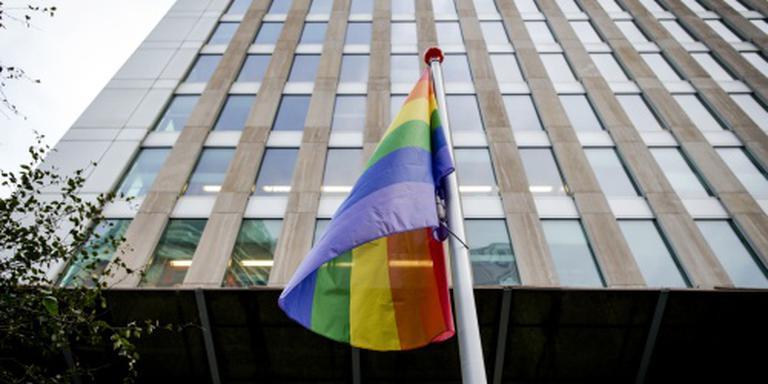 Regenboogvlag wappert op kom-uit-de-kastdag