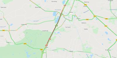 De verkeersituatie op de A28 tussen Beilen en Spier rond 18.10 uur.
