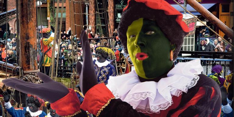 De intocht in Groningen, dit jaar niet alleen met zwarte pieten. Foto: DvhN