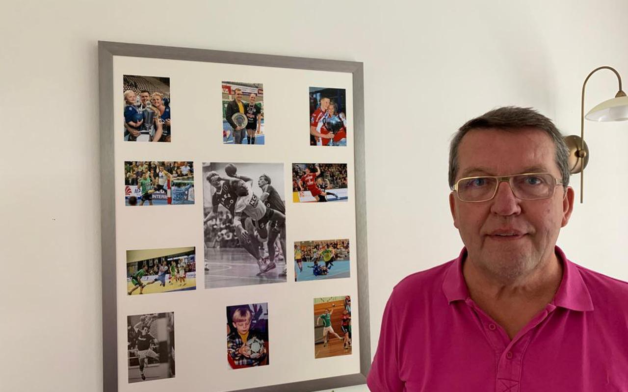 """Sjeng Verjans (63) bij de fotocollage om zo de hechte familieband te illustreren. ,,De handbalsport heeft onze familie veel moois opgeleverd: sportieve momenten en warme vriendschapsbanden."""""""