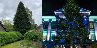 De boom in de tuin in Winschoten (links) staat in december feestelijk verlicht op de Grote Markt in Groningen (rechts)