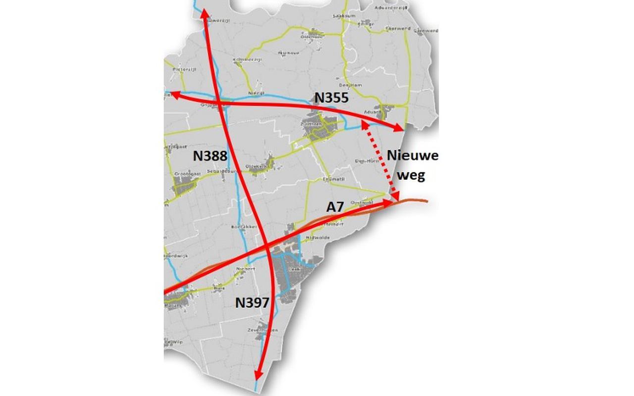 De hoofdroutes voor gemotoriseerd verkeer in Westerkwartier: N355 (Friesestraatweg), de autosnelweg A7 (beide oost-west) en de N388 / N379 (Lauwerzijl - Grijpskerk - Boerakker - Zevenhuizen - Een West). B en W willen er graag een tweede noord-zuid verbinding aan toevoegen tussen N355 en A7 (Aduard -Oostwold). Van de noord-zuid verbindingsweg langs de provinciegrens in Friesland (de Scheiding) profiteren alleen inwoners van een deel van de voormalige gemeente Grootegast.