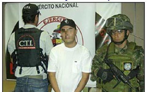 Een foto van de aanhouding van Alejandro C. in de Colombiaanse hoofdstad Medellin. Foto: Drug Enforcement Administration, USA.