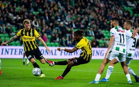 Yann Gboho vanVitesse scoort de 0-1 tijdens de wedstrijd tussen FC Groningen en Vitesse in het Euroborg stadion.
