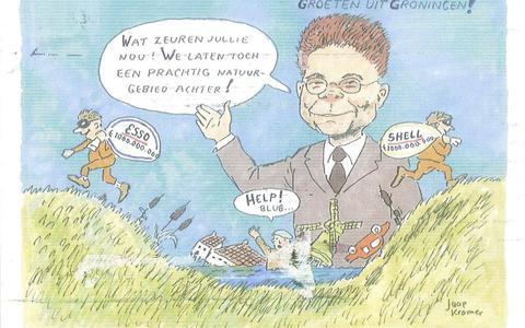 Oud-directeur Bart van de Leemput staat centraal in protestkaartje tegen NAM