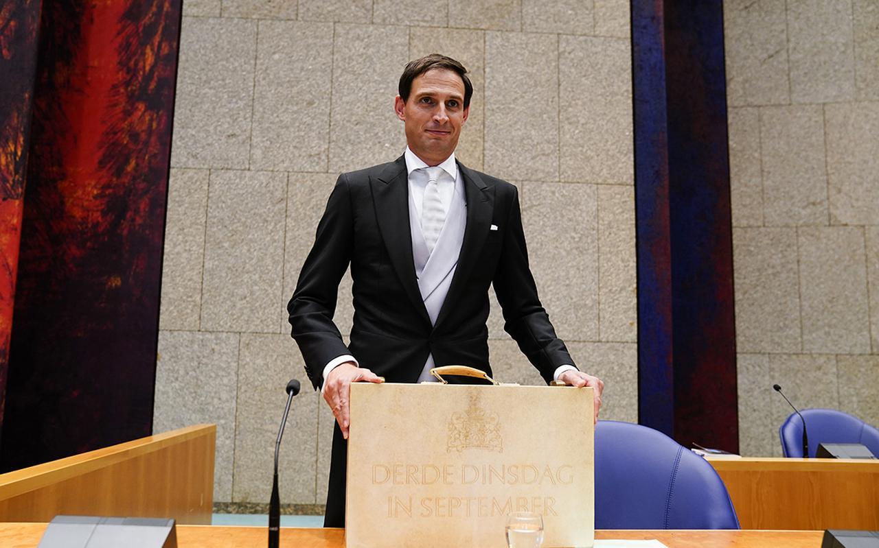 Minister Wopke Hoekstra presenteert de miljoenennota.