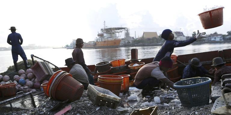 Vissers uit Myanmar en Cambodja halen vis van de boot. Foto: EPA