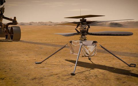 Deze helikopter gaat vliegen op... Mars   in beeld