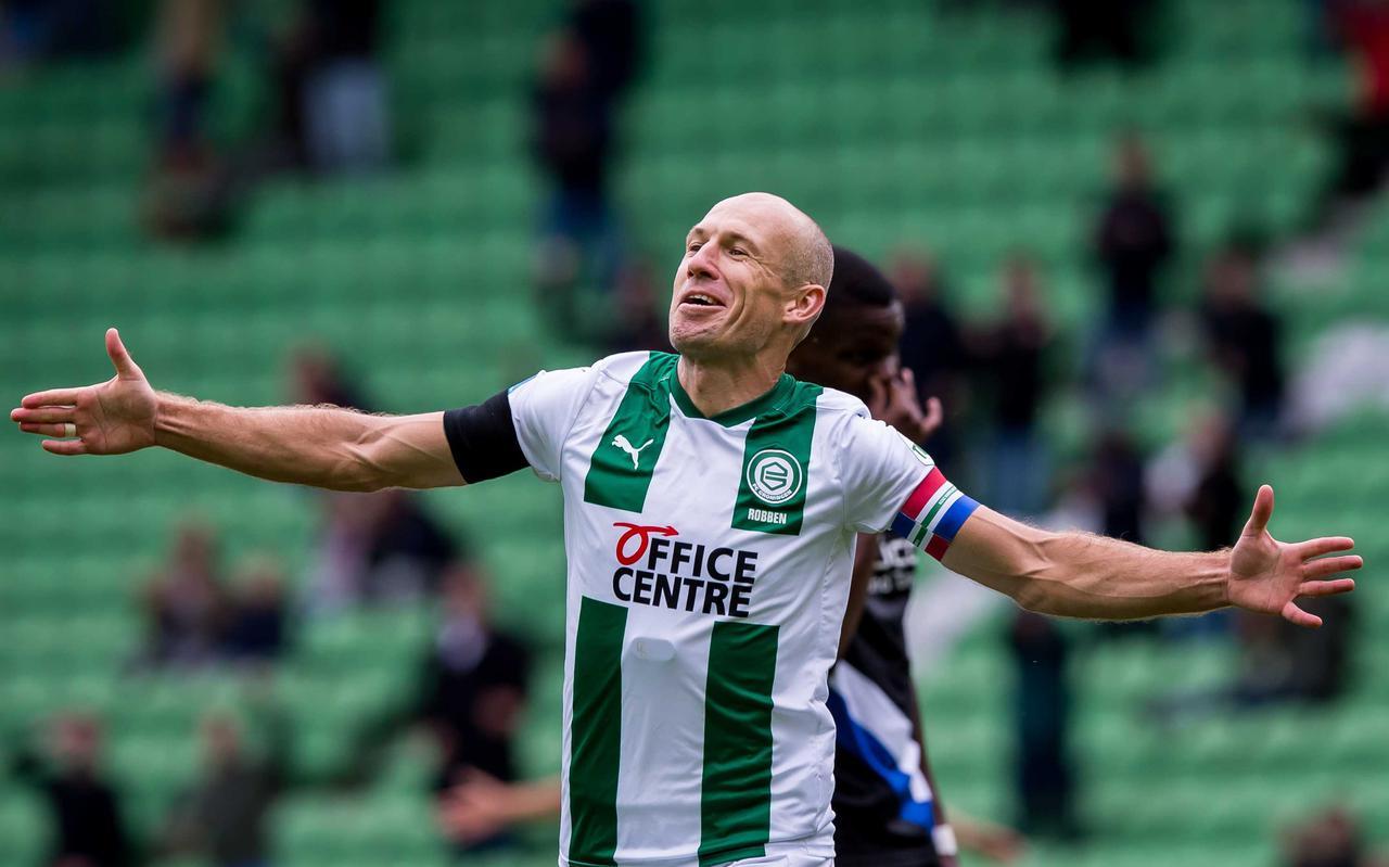 Arjen Robben tijdens de vriendschappelijke wedstrijd tussen FC Groningen en Arminia Bielefeld in het Hitachi Capital Mobility stadion.