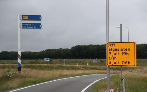Afsluiting N33 tussen Assen en Siddeburen.