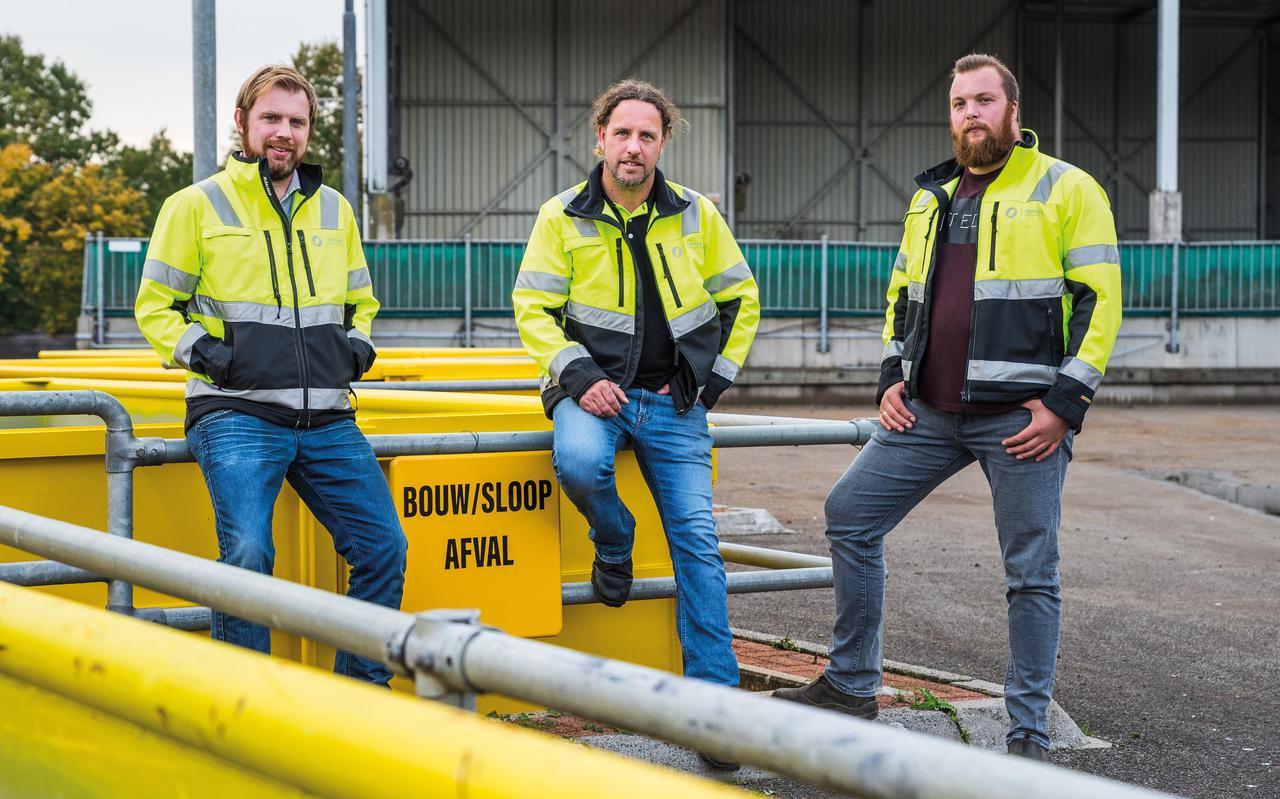 Mark O'Connor, René van Gils en Andries Kaptijn van Sortas Recycling beginnen op 2 november met de milieustraat in Meppel.