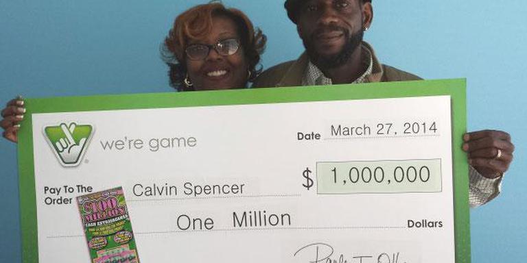Calvin and Zatera Spencer wonnen in een maand tijd twee keer 1 miljoen euro en een keer 50.000 euro. Foto: Virginia lottery