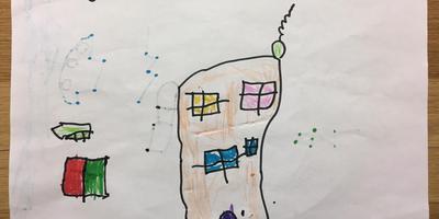 Een van de klasgenootjes van Kenan tekende een nieuwe grillroom.