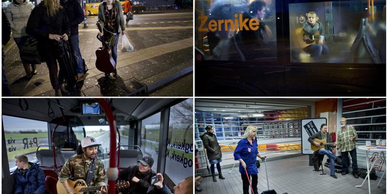 Muzieksessies in de bus in 2014. Foto Archief Corné Sparidaens