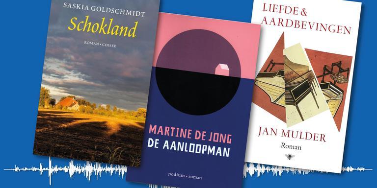 De drie nieuwe aardbevingsboeken op een rij.