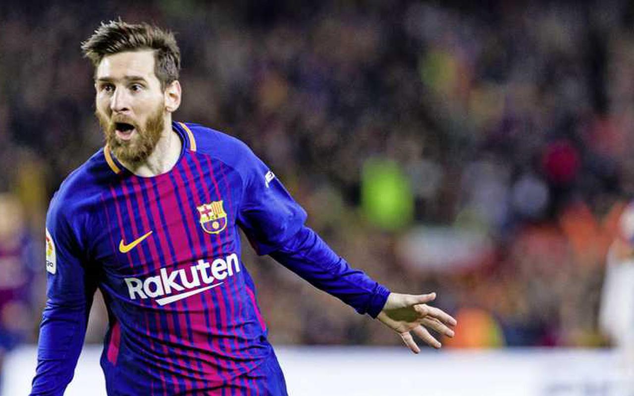 Lionel Messi viert een van zijn vele hoogtepunten in het Barcelona-shirt.